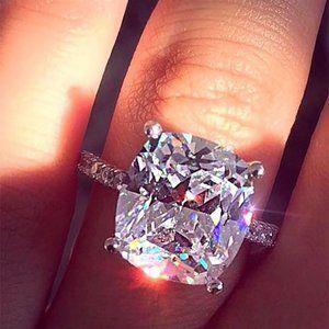 NEW 8 Carat Cushion Cut Solitaire Diamond Ring